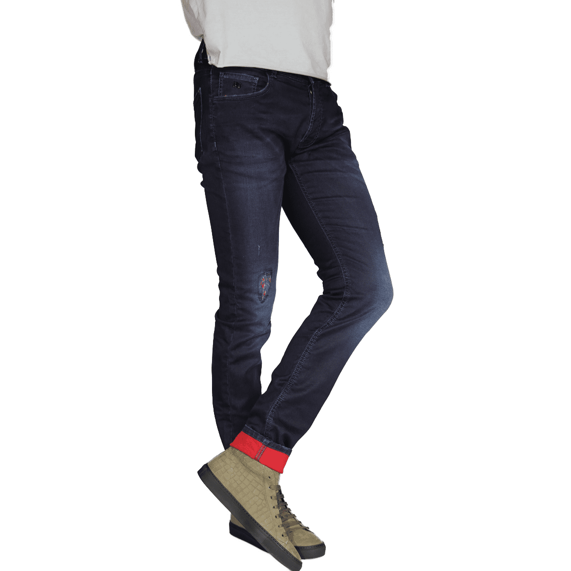 Cabinero Stiles Berlin PG Enjoy Jeans, Herrenhosen, made in Italy AW17-18 denim Blue-Red 3