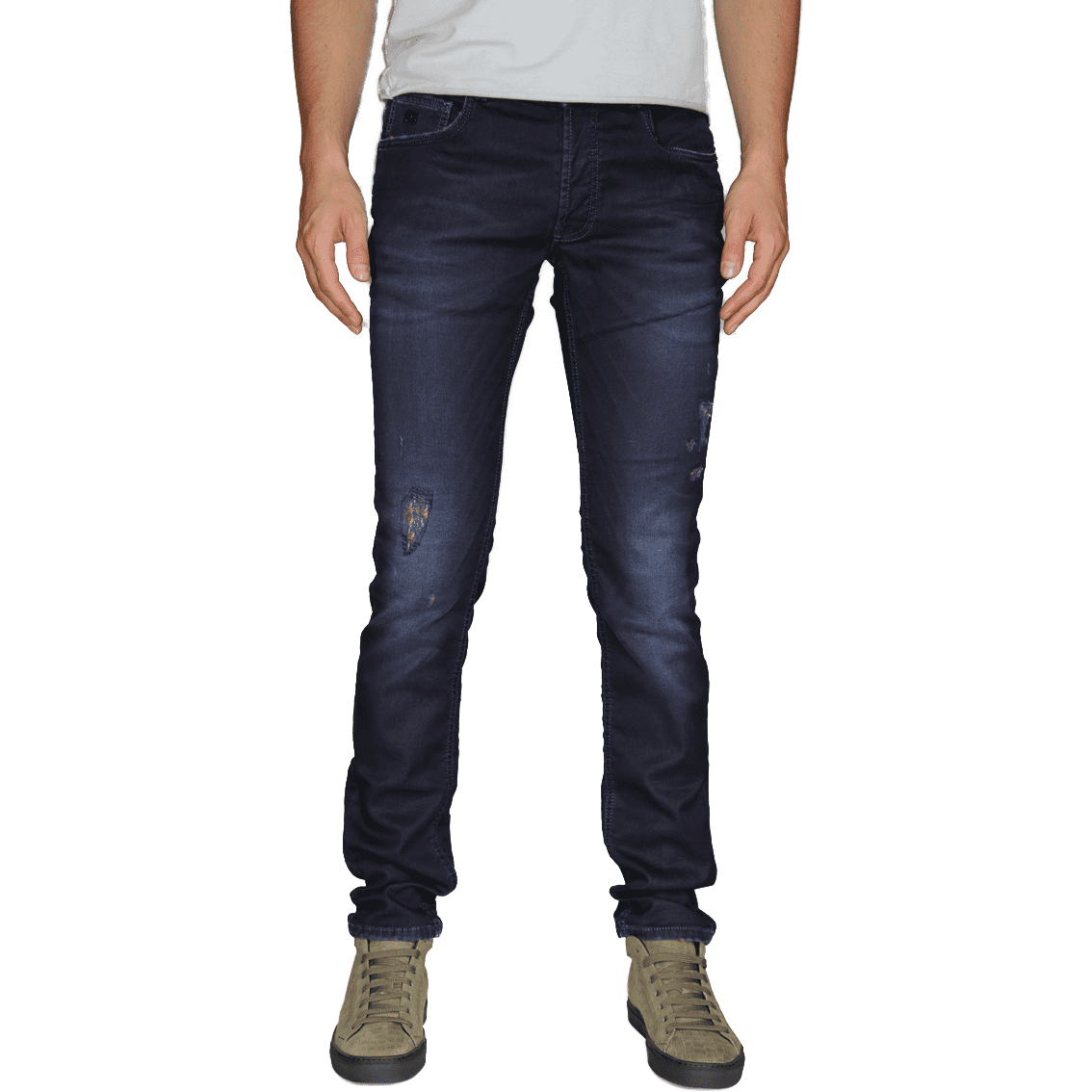 Cabinero Stiles Berlin PG Enjoy Jeans, Herrenhosen, made in Italy AW17-18 denim Blue-Red