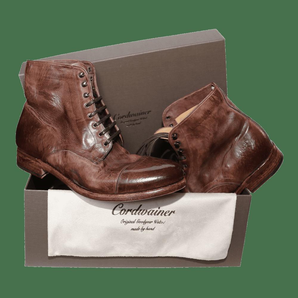 Cordwainer Rahmengenähte Schnürstiefel TODI in Cognac-used - Exklusiv für Cabinero - Neu - Schuhe - Kollektion 2018