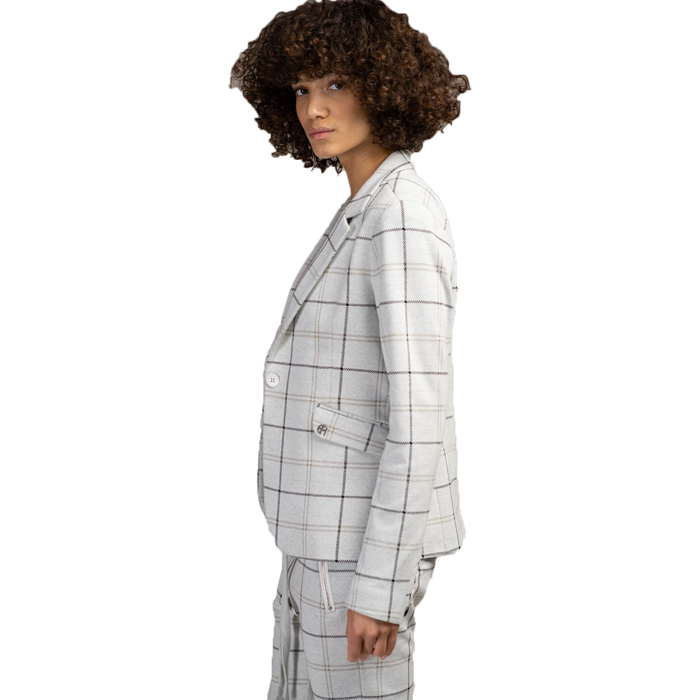 Elias Rumelis Ladies Blazer Leya soft off white check